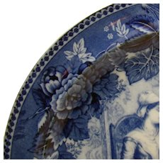Blue Wedgwood Plate with John and Priscilla Alden