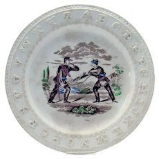 Staffordshire ABC Plate with Civil War Soldiers - 1870's