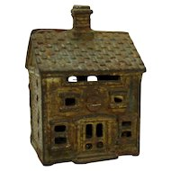 Cast Iron Colonial Home Still Bank - 1880's