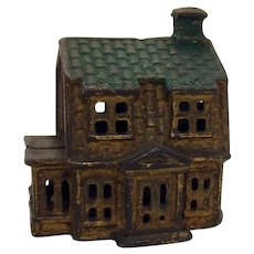 Cast Iron Two-Story House Bank - 1880's