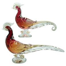 Alfredo Barbini Murano Art Glass Birds Sculptures