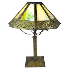Signed Bradley & Hubbard Arts & Crafts Eight Panel Electric Table Lamp - 100% original