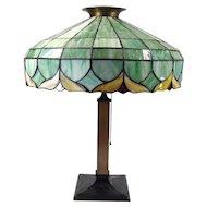 Large All-Original Art Nouveau Leaded Table Lamp - 1910