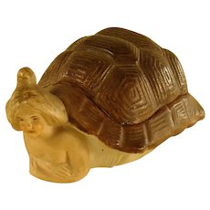 Bisque Covered Pin Tray with Turtle Shell Lid