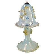 Opalescent Spiral Ribbed Venetian Boudoir Lamp - Late 1960's