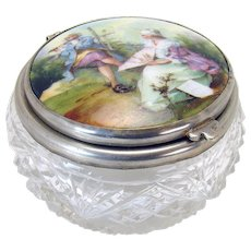 Cut Glass Powder Jar / Dresser Jar with Hand-painted Insert - 1910