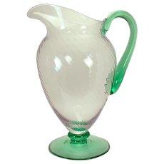 Steuben Spiral-Ribbed Pomona Glass Water Pitcher