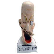 """Porcelain Musical-Themed Ashtray with Funny Faces - """"For He's a Jolly Good Fellow"""""""