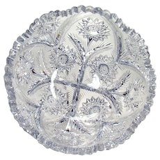 Large Signed Libby Cut Glass Bowl - American Brilliant Cut Period - 1900