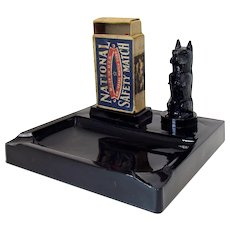 Black Amethyst Scottish Terrier Ashtray and Match Holder - 1930's