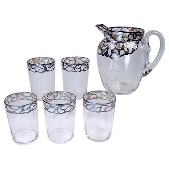 Steuben Glass Pitcher and Five Glasses with Sterling Overlay