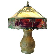 Caramel Slag Electric Table Lamp with Art Glass Border c. 1920's - 100% Original