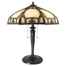 Caramel Art Glass Electric Table Lamp with Ornate Filigree - 100% Original