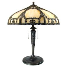 Caramel Art Glass Electric Table Lamp with Ornate Filigree - 100% Original