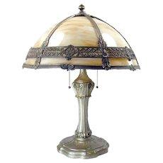 Caramel Panel Filigree Electric Table Lamp - All Original - c. 1920's