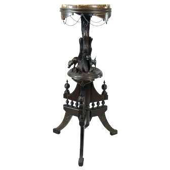 Victorian Marble Top Fern Stand with Carved Dogs and Fox c. 1880's