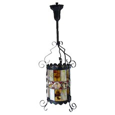 Leaded Hanging Pendant Lamp with Hand-Forging - 1880's