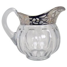 Signed Heisey Glass Pitcher with Sterling Overlay