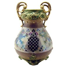 Signed Amphora Porcelain Vase with Rampant Lions