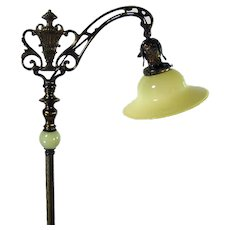 Cast Iron and Brass Floor Lamp with Uranium Glass Shade - 1920's