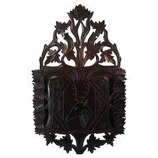 Victorian Carved Black Walnut Magazine or Newspaper Holder - 1890's