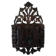 Victorian Carved Black Walnut Magazine or Newspaper Holder - 1890's