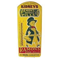 Ramon's Brownie Pills Tin and Enamel Advertising Thermometer - Near Mint