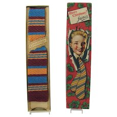 Christmas Tie in Original Lithographed Box - Never Worn - 1950's