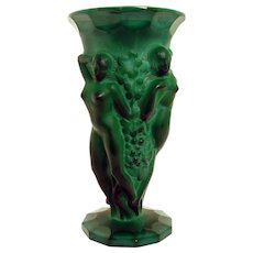 Art Deco Malachite Vase with Three Nudes - 1930's