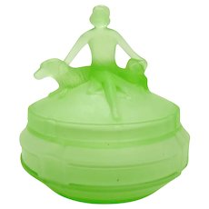 Art Deco Uranium Glass Powder Jar with Woman and Two Dogs - 1930's