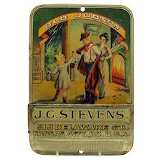 J. C. Stevens Old Judson Early Advertising Matchsafe and Striker
