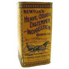 Newtons Heave Cough Distemper Indigestion Early Advertising Tin