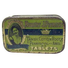 Robert J. Pierce's Cottonroot Tablets Early Advertising Tin
