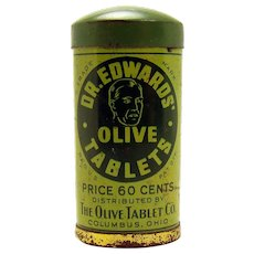 Doctor Edwards Olive Tablets Early Tin Advertising Container