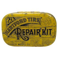 Hartford Tire Repair Kit Early Tin Advertising Container
