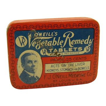 O'Neill's Vegetable Remedy Tablets Early Advertising Tin - Small Version