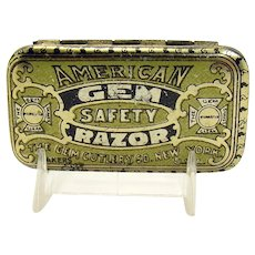 American Gem Safety Razor Early Advertising Tin