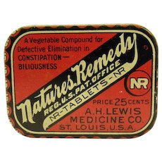 Nature's Remedy Constipation Tablets Early Advertising Tin