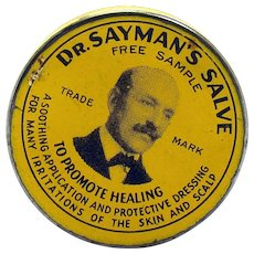 Doctor Sayman's Salve Early Tin Advertising Container