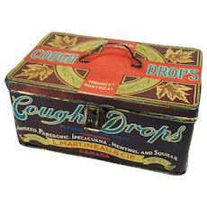 Store Container Early Advertising Tin - Canadian Cough Drops
