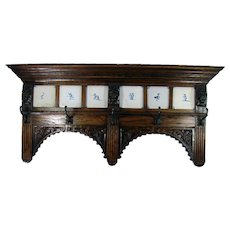 Carved Oak Wall-Mounted Coat Rack - Turn-of-the-Century