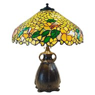 Semmer Leaded Art Glass Table Lamp on Pittsburgh Owl Base