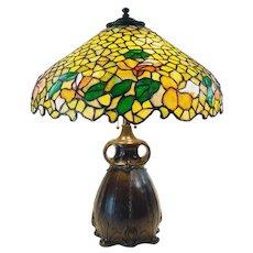 Semmer Leaded Art Glass Table Lamp on Pittsburgh Owl Base