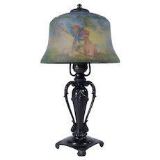 Signed Classique Reverse-Painted Lamp with Parrot Shade - 1915