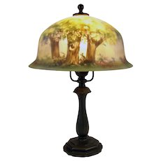 Triple-Signed Pairpoint Reverse-Painted Boudoir Lamp - 1915