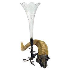 Jugendstil Cut Glass Bud Vase with Brass/Bronze Ram - 1890's
