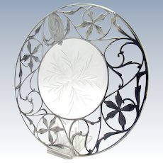 Cut Glass Trivet with Sterling Overlay and Floral Design
