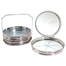 Set of Six Sterling and Cut Glass Coasters - 1915