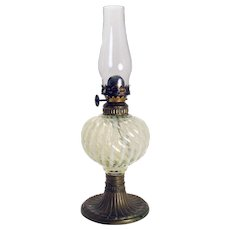 Sheldon Swirl Opalescent Vaseline Glass Miniature Oil Lamp - 1890's