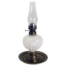 Opalescent Sheldon Swirl Miniature Saucer Oil Lamp - 1890's